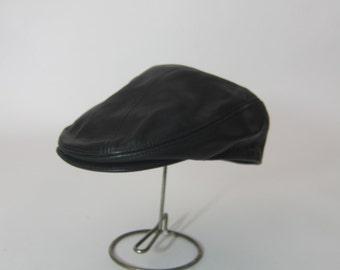 Vintage 80's BLACK LEATHER Newboy Cap Hat Hip Hop Union Made usa