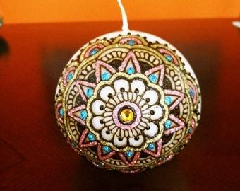 Henna Glitter Mandala Round Candle / Designer Candle / Decorative Candle / Party Favors / Wedding Favors