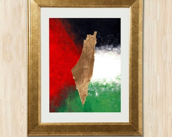 Original Hand-Painted Palestine Wall Art in Gold Leaf on Flag Background | Arab Map Series | 9x12inches | Janna Love