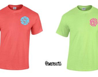 SALE Monogram Tee Shirt, Monogram shirt, Embroidery shirt