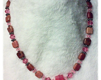 Necklace, Pink Necklace,  Pink Stone Necklace, Stone Necklace