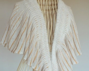 White Knitted Wrap, Reversable Knitted Scarf, White Knitted Evening Shawl, Bridal Knitted Shawl