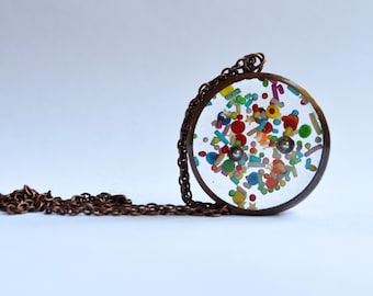 Sprinkle Explosion Necklace / Pendant - upcycled copper pipe and resin with real sprinkles