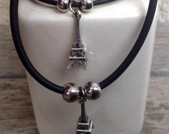 Vintage Style Double Lovers Eiffel Tower Bracelet Charm Set