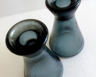 Vintage Pair of Smoke-colored Pressed Glass Candle Holders - 1970s