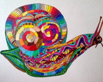 The Rainbow Snail - Original Pigmented India Ink Art on Watercolor Paper, Colorful Nature