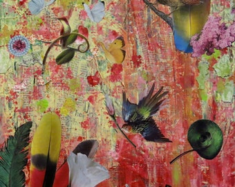 """Mixed Media Collage Art """"Feathers"""""""