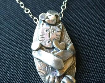 Fine Silver Pendant Cat Juggling Hearts