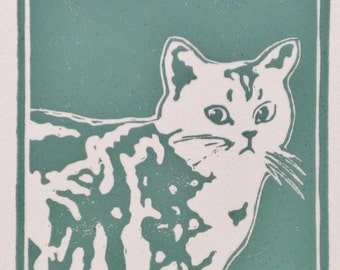Snow - original, hand-pulled block print 9.5 x 15cm on A4 art paper