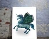 Pegasus, Peacock Unicorn Print, Limited Edition Giclee print  - Unicorn illustration wall art print peacock print unicorn print decor
