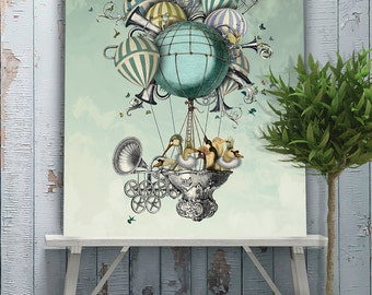 Hot air balloon poster - Aves Piger Limited Edition Giclee Print - Hot air balloon print anniversary gift for wife husband gift swan print