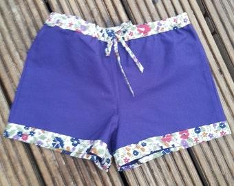 REDUCED Little Girls purple floral trim shorts