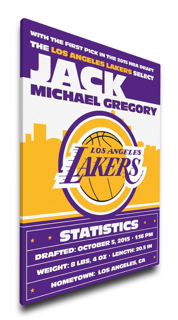 Baby Gift Los Angeles : Los angeles lakers personalized baby gift canvas birth