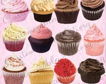 Cupcake Clipart Cup Cake Digital Clip Art Cupcakes Clipart Cup Cakes Images Cupcake Graphics Realistic Printable Cupcake Digital Image Pink