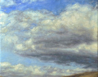 Original Cloudscape Oil Painting of Wyoming , 'Wyoming Cloudscape 1', Framed