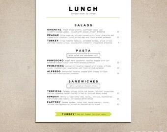 Custom Restaurant Menu - Printable PDF - Diner, Pub, Coffee Shop, Fast Food, Cafe Food Menu