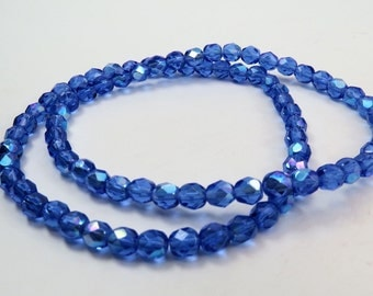 6mm Sapphire Blue AB Beads Faceted Fire Polished Translucent Premium Czech Glass 40 Beads PFP 6mm010