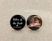 Cufflinks, Father of the bride Cufflinks, Custom Wedding Date Cuff links,Custom Photo Cufflink, mens jewelry, Father of the bride cufflinks