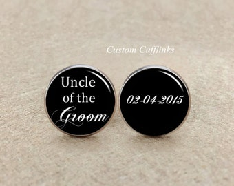 uncle of the groom cufflinks,Wedding cufflinks,Personalized Cufflinks Wedding Cuff links,Design Letters Cufflinks,Unique gifts for Unlce
