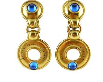 JEAN-LOUIS SCHERRER * Gorgeous vintage dangling earrings with blue sapphire cabochons
