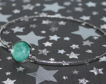 Silver finished bracelet - green water