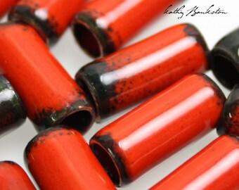 Red Enameled Copper Tube Beads, Tube Beads, Enameled Beads, Red Enamel Beads, Red and Black Beads, Enamel Beads, Kathy Bankston