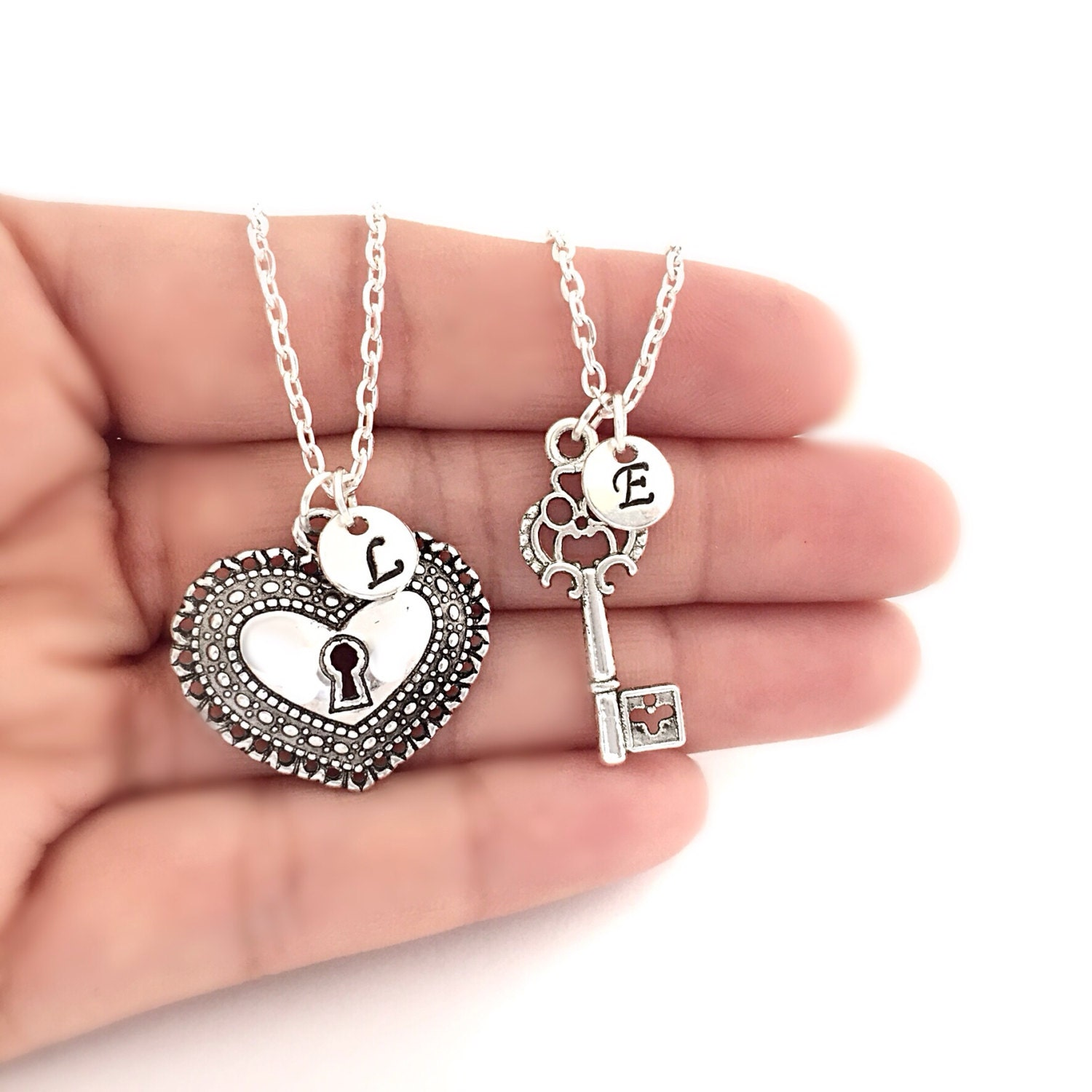 initials heart lock and key necklace set personalized key to