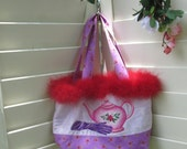 Red Hat Society Cloth Purse with Red Boa Trim