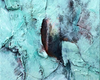 Turquoise Acrylic Mixed Media Abstract Painting, Original Painting, Abstract Painting, Modern Art Painting,