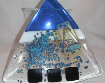 Blueberry Pie, fused glass