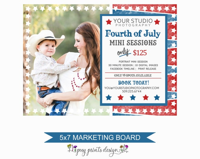 4th of July Mini Session Marketing Board - Template for Photographers - Digital Photoshop Template - 5x7 Photography Design - FJM04
