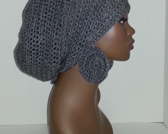 Crochet Tam with Drawstring and Earrings, Large Rasta Tam - Gray/Grey Large Slouch Hat and Earrings, Gray/Grey Dreadlock Tam and Earrings