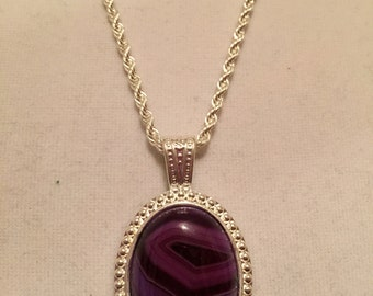 Purple Banded Agate Pendant in 925 Sterling Silver Setting and Chain