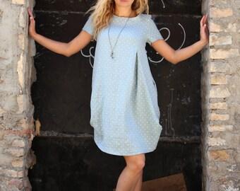 Linen dress // Gray Polka Dot Linen Dress With Pockets // Gray knee length dress // Summer dress // Beach dress // Casual dress