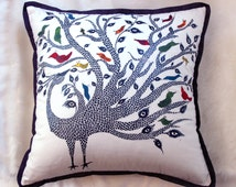 Stylish Hand Painted Artistic Peacock Couch Cushion Cover
