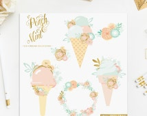 Ice Cream ClipArt Intant Download Peach Mint Blue Pink Bluch Gold Foil Digital Flowers Wreath Baby Invitation Wedding Invitation DIY Pack