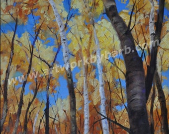 Birch Trees in the Fall Original oil painting