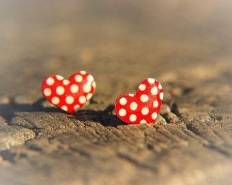 Heart earrings stainless steel, enameled stainless steel earrings, heart jewelry