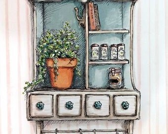 "Original Art Painting - Country Home Illustration - Watercolor and Pen - ""Petites"" Series"