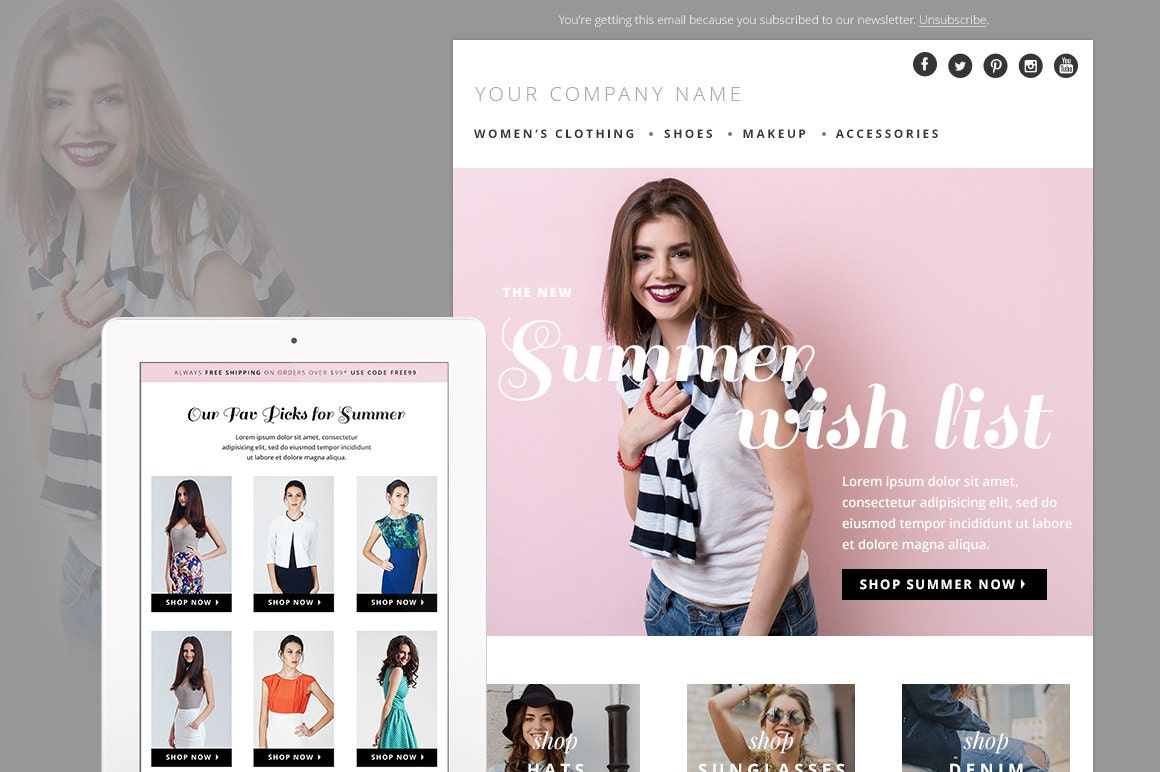 Summer Fashion E-mail Newsletter Template PSD E-commerce