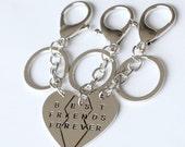 silver best bitches keychain, bff best friends forever keychain jewrlry broken heart set,friendship keychain, graduation gift,3 keychain set
