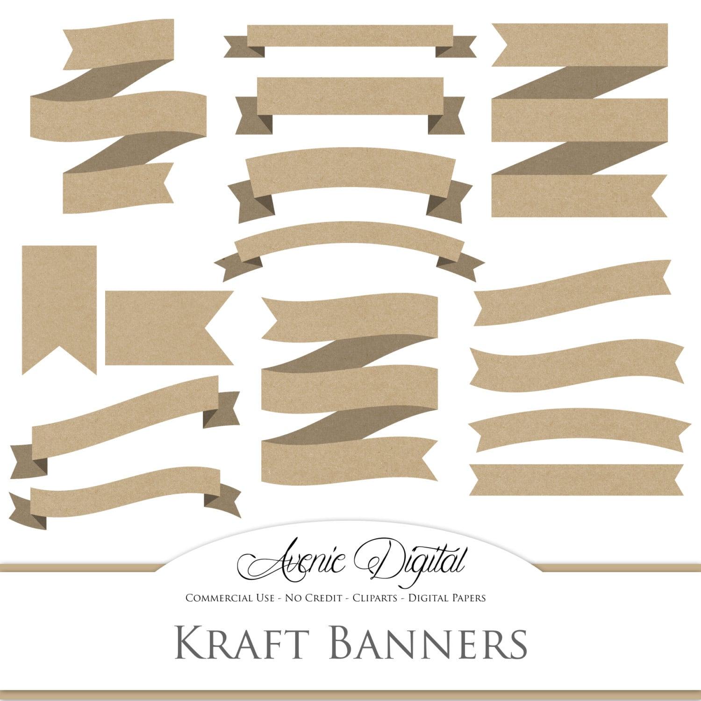 Kraft Ribbon Banner Clipart Scrapbooking Printables Brown