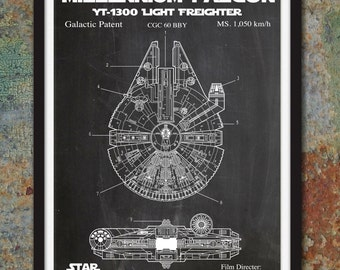 Star Wars Millennium Falcon Patent Wall Print - Skywalker Art Poster, Star Wars Blueprint Star Wars Patent Print Geekery Geek - Item #SW7