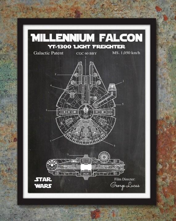 Star Wars Millennium Falcon Patent Wall Print Skywalker Art