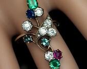 Antique Art Nouveau Gemstone Flower Ring