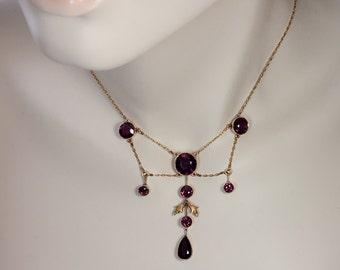 Antique Almandine Garnet and Gold Necklace