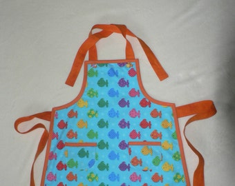 Childrens Fish Apron With Pockets Boys Apron Girls Apron Blue Rainbow