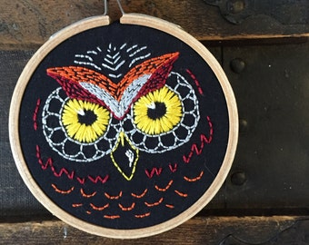 Black Owl Ornament, Woodland Owl Art, Woodland Decor, Halloween Owl,  Embroidery Hoop Art