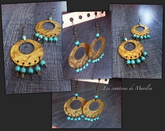 Earrings Creole style gold and turquoise