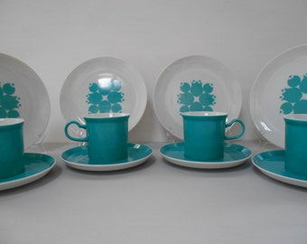Four Gempo Trios Teacups, Saucers & Plates in Dark Teal 1960's